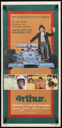 2d342 ARTHUR Aust daybill '81 different image of drunk Dudley Moore & Formula 1 race car!