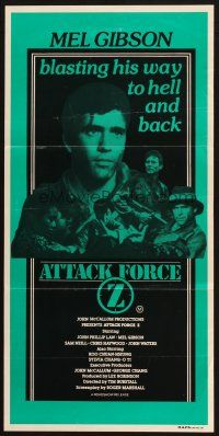 2d343 ATTACK FORCE Z Aust daybill '82 Mel Gibson is blasting his way to hell and back!