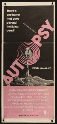 2d344 AUTOPSY Aust daybill '76 Macchie solari, Mimsy Farmer, horror goes beyond the living dead