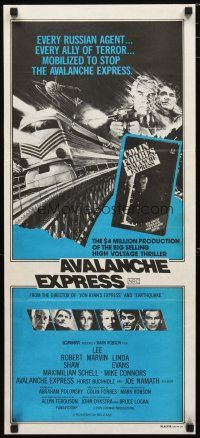 2d345 AVALANCHE EXPRESS Aust daybill '79 Lee Marvin, Robert Shaw, cool speeding train art!