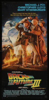 2d348 BACK TO THE FUTURE III Aust daybill '90 Michael J. Fox, Chris Lloyd, Zemeckis, Struzan art!