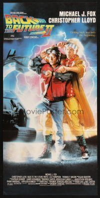 2d347 BACK TO THE FUTURE II Aust daybill '89 art of Michael J. Fox & Christopher Lloyd by Struzan!