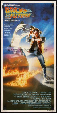 2d346 BACK TO THE FUTURE Aust daybill '85 Robert Zemeckis, Michael J. Fox & Delorean by Struzan!