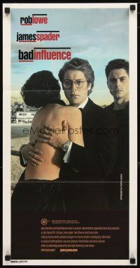 2d351 BAD INFLUENCE Aust daybill '90 Helmut Newton photo of Rob Lowe & James Spader!