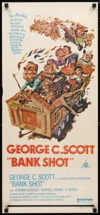 2d352 BANK SHOT Aust daybill '74 wacky art of George C. Scott taking the whole bank by Jack Davis!