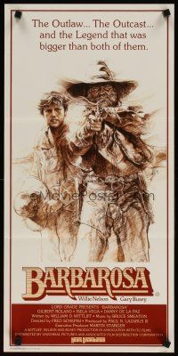 2d353 BARBAROSA Aust daybill '82 great art of Gary Busey & Willie Nelson with smoking gun!