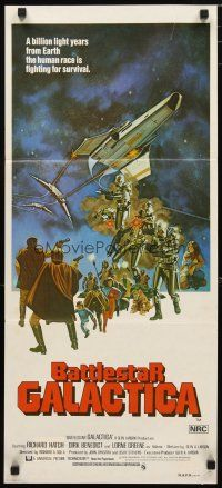 2d355 BATTLESTAR GALACTICA Aust daybill '78 great sci-fi art by Robert Tanenbaum!