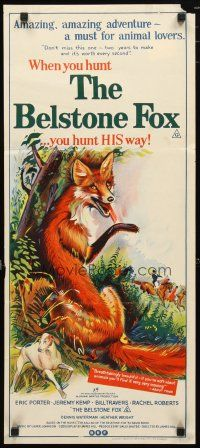 2d361 BELSTONE FOX Aust daybill '73 nature documentary, wonderful stone litho art!