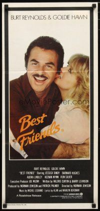 2d363 BEST FRIENDS Aust daybill '82 great close up of Goldie Hawn biting Burt Reynolds' ear!