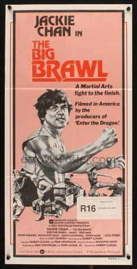 2d369 BIG BRAWL Aust daybill '80 early Jackie Chan, a martial arts fight to the finish!
