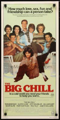 2d371 BIG CHILL Aust daybill '83 Tom Berenger, Glenn Close, Jeff Goldblum & William Hurt!