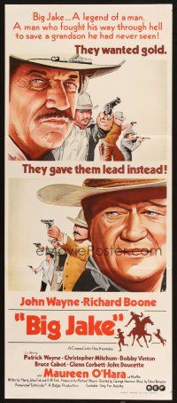 2d372 BIG JAKE Aust daybill '71 Richard Boone wanted gold but John Wayne gave him lead instead!