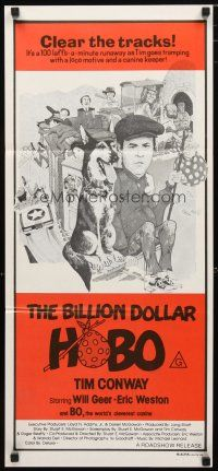 2d373 BILLION DOLLAR HOBO Aust daybill '78 great different art of Tim Conway & Bo the dog!