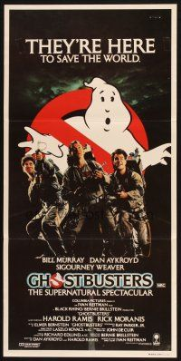2d568 GHOSTBUSTERS Aust daybill '84 Bill Murray, Aykroyd & Harold Ramis are here to save the world