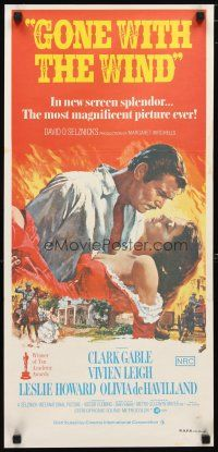 2d579 GONE WITH THE WIND Aust daybill R70s art of Clark Gable & Vivien Leigh, all-time classic!