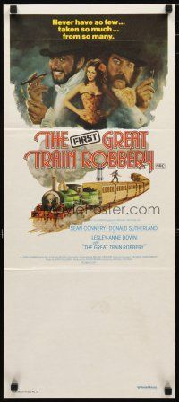 2d584 GREAT TRAIN ROBBERY Aust daybill '79 art of Connery, Sutherland & Lesley-Anne Down by Jung!