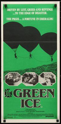 2d586 GREEN ICE Aust daybill '81 Ryan O'Neal, Anne Archer, Omar Sharif, a fortune in emeralds!