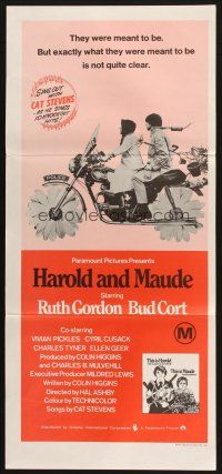 2d593 HAROLD & MAUDE Aust daybill R70s Ruth Gordon, Bud Cort is equipped to deal w/life!