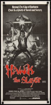 2d596 HAWK THE SLAYER Aust daybill '80 cool artwork of hero Jack Palance holding sword over head!