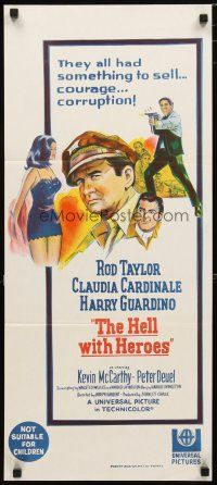 2d603 HELL WITH HEROES Aust daybill '68 Rod Taylor, Claudia Cardinale, they had something to sell!