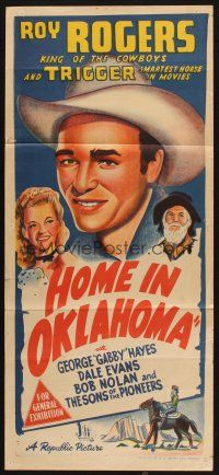 2d612 HOME IN OKLAHOMA Aust daybill '46 great stone litho of Roy Rogers, plus Dale Evans & Gabby!