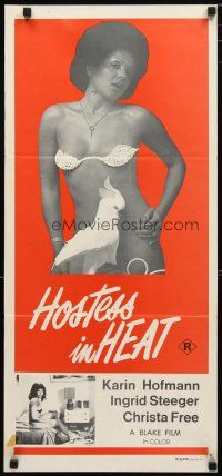 2d618 HOSTESS IN HEAT Aust daybill '75 Swiss sexploitation, mostly naked woman with bird!