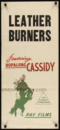 2d615 HOPALONG CASSIDY Aust daybill 50s cool colorful artwork of William Boyd as Hopalong Cassidy