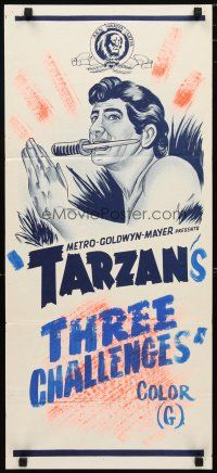 2d930 TARZAN Aust daybill 60s art of the heroes with a knife in his mouth