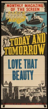 2d947 TODAY  TOMORROW stock Aust daybill 40s cool newsreel stone litho Love That Beauty