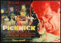 2d006 PICNIC German 33x47 '56 great different colorful Rehak art of William Holden & Kim Novak!