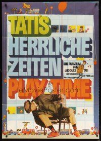 2d008 PLAYTIME German 33x47 '68 different Pankarz artwork of Jacques Tati as Monsieur Hulot!