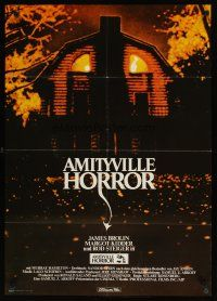 2d066 AMITYVILLE HORROR German '79 AIP, great image of haunted house, for God's sake get out!
