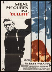 2d068 BULLITT German '68 great c/u of Steve McQueen, Peter Yates car chase classic!