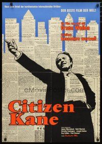 2d071 CITIZEN KANE German '62 Orson Welles classic, rare first release, cool newspaper background!