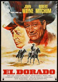 2d076 EL DORADO German R70s Peltzer art of John Wayne & Robert Mitchum, Howard Hawks!