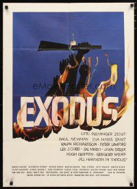 2d077 EXODUS German '62 Otto Preminger, great artwork of arms reaching for rifle by Saul Bass!