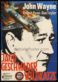 2d079 FLYING LEATHERNECKS German R67 different art of John Wayne & crashing plane, Howard Hughes