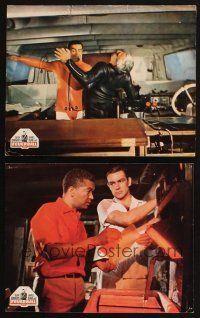 2d050 THUNDERBALL 2 German LCs '65 Sean Connery as James Bond fighting Adolfo Celi on boat!