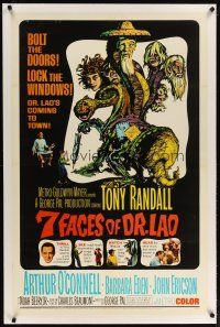2e062 7 FACES OF DR. LAO linen 1sh '64 great art of Tony Randall's personalities by Joseph Smith!