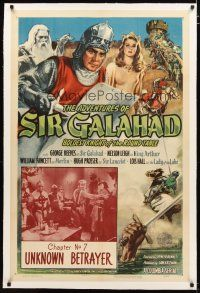 2e064 ADVENTURES OF SIR GALAHAD linen chapter 7 1sh '49 George Reeves, Knights of the Round Table!