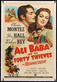 2e065 ALI BABA & THE FORTY THIEVES linen 1sh '43 art of Maria Montez, Jon Hall & Turhan Bey!