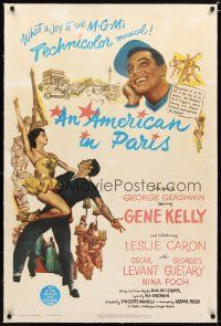 2e069 AMERICAN IN PARIS linen 1sh '51 wonderful art of Gene Kelly dancing with sexy Leslie Caron!