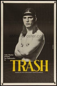 2e004 ANDY WARHOL'S TRASH 1sh '70 close up of barechested Joe Dallessandro, Andy Warhol classic!