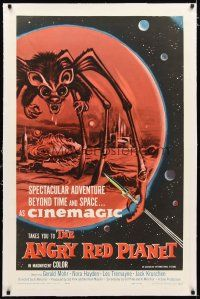 2e071 ANGRY RED PLANET linen 1sh '60 great artwork of gigantic drooling bat-rat-spider creature!