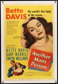 2e073 ANOTHER MAN'S POISON linen 1sh '52 art of sexy Bette Davis, world's first lady of the screen!