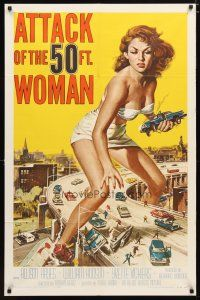2e001 ATTACK OF THE 50 FT WOMAN 1sh '58 classic art of enormous sexy Allison Hayes over highway!
