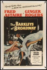 2e076 BARKLEYS OF BROADWAY linen 1sh '49 art of Fred Astaire & Ginger Rogers dancing in New York!