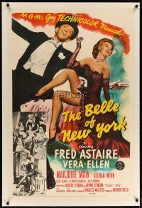 2e077 BELLE OF NEW YORK linen 1sh '52 great image of Fred Astaire & sexy Vera-Ellen dancing!