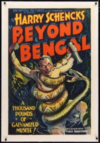 2e079 BEYOND BENGAL linen style B 1sh '34 stone litho art of thousand pound snake constricting man!