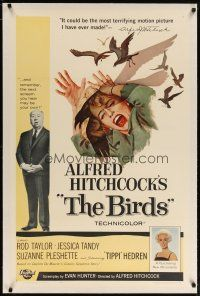 2e082 BIRDS linen 1sh '63 Alfred Hitchcock shown with Tippi Hedren, classic attack art!